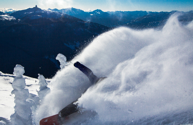 snowboarder marcus culver at whistler in the powder