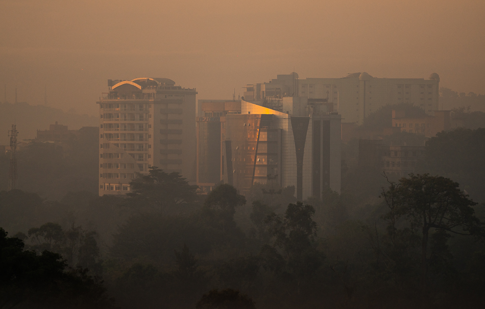 Golden hour in the morning at Kampala